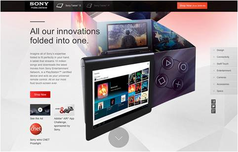 Sony Vaio Tablet S website Design Brother